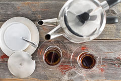 Preparing cups of Turkish tea Royalty Free Stock Images