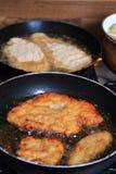 Preparing czech schnitzel Stock Photo