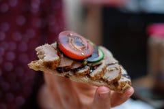 Preparing decorational food with crispbread royalty free stock photos