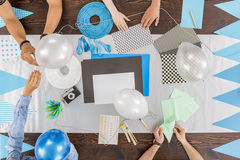 Preparing decorations for the baby shower stock photography