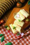 Preparing a delicious gouda sandwich Stock Images
