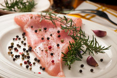 Preparing delicious stake for dinner - raw fillet of turkey meat Royalty Free Stock Photos