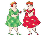 Preparing for a diet. Two ladies preparing for a diet royalty free illustration