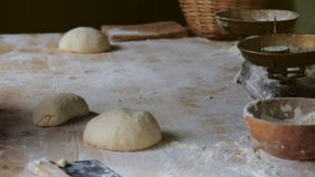 Preparing the dough for baking in the bakery stock video footage
