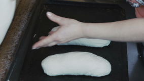 Preparing dough for baking breads. Full HD stock footage