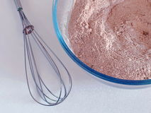 Preparing dough for chocolate sponge cake, cupcakes or muffin. Baking and cooking concept, ingredients and utensils Royalty Free Stock Images