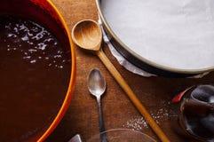 Preparing dough, mixing ingredients Royalty Free Stock Photography