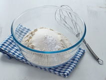 Preparing dough for sponge cake, cupcakes or muffin. Cooking process. Dry ingredients mix for sponge cake, buns, cupcakes or muffin. Preparation stage. Baking Stock Photography