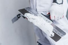 Preparing For Drywall Patch royalty free stock photos