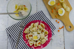 Preparing egg pasta salad Royalty Free Stock Photos