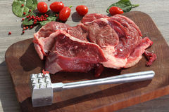 Preparing entrecote on the board Royalty Free Stock Photography