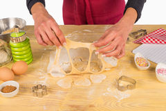 Preparing fancy shaped cookies at home Royalty Free Stock Image
