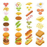 Preparing fast food step by step template colorful poster royalty free illustration