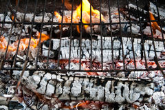 Preparing the fire for Barbeque Grill Royalty Free Stock Photos
