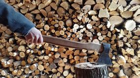 Preparing firewood,chopping wood with an ax.4k stock video