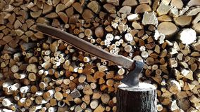 Preparing firewood,chopping wood with an ax.logo stock video footage