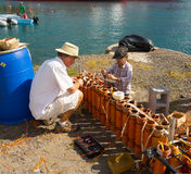 Preparing fireworks in the caribbean Royalty Free Stock Images