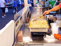 Preparing fish balls at night market Stock Photos