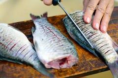 Preparing fish Stock Photography