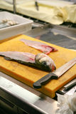 Preparing fish to cook. Preparing raw fish ready to cook or prepare sushi Stock Photos
