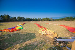 Preparing for flight  Hot air balloon in Laos Royalty Free Stock Image