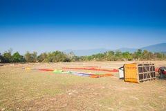 Preparing for flight  Hot air balloon in Laos Stock Image
