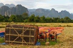 Preparing for flight in Hot air balloon in Laos, Vang Vieng Stock Photo