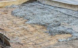 Preparing the floor to pour concrete. Royalty Free Stock Photos