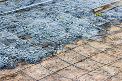 Preparing the floor to pour concrete. Royalty Free Stock Photography