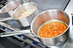 Preparing food. At professional kitchen royalty free stock image