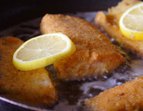 Preparing food. Backed fish with lemon stock images