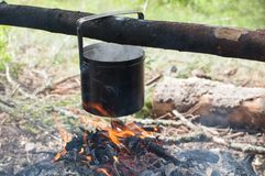 Preparing food on campfire Stock Image