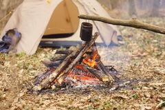 Preparing food on campfire in wild camping as. Preparing food on campfire in wild camping Royalty Free Stock Photo