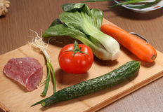 Preparing food Chopping board Ingredients for cooking meat Royalty Free Stock Photography
