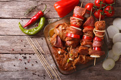 Preparing food for cooking barbecue on skewers. horizontal top v Stock Photos