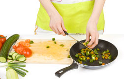 Preparing food, fresh vegetables Stock Photos
