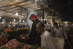 Preparing food in Marrakesh main square Royalty Free Stock Images