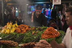 Preparing food in Marrakesh main square at night Royalty Free Stock Photography