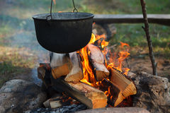 Preparing Food On Campfire Royalty Free Stock Photo