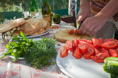 Preparing food for picnic Royalty Free Stock Photography