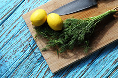 Preparing food for sauce salad by ingredient is lemon and coriander on wood block Royalty Free Stock Images