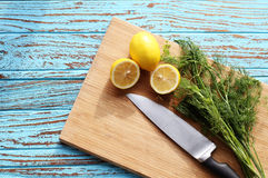 Preparing food for sauce salad by ingredient is lemon and coriander on wood block Stock Photo