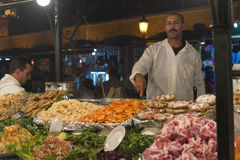 Preparing food stall in Marrakesh main square Royalty Free Stock Photos