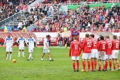 Preparing for free kick at football match Stock Image