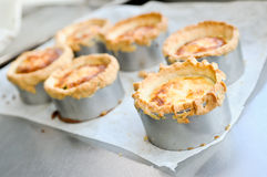 Preparing French quiche. At professional kitchen Stock Photography