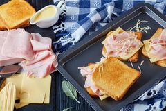 Preparing french toast on a baking sheet Royalty Free Stock Image