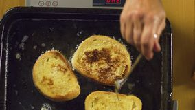 French toast. Preparing french toast for breakfast stock video