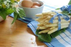 Preparing fresh asparagus stock photo