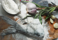 Preparing fresh fish for cooking Royalty Free Stock Image