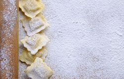 Preparing fresh ravioli. Royalty Free Stock Photo